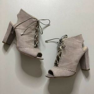Enzo AngioliniTaupe Suede Lace-up Block Heels